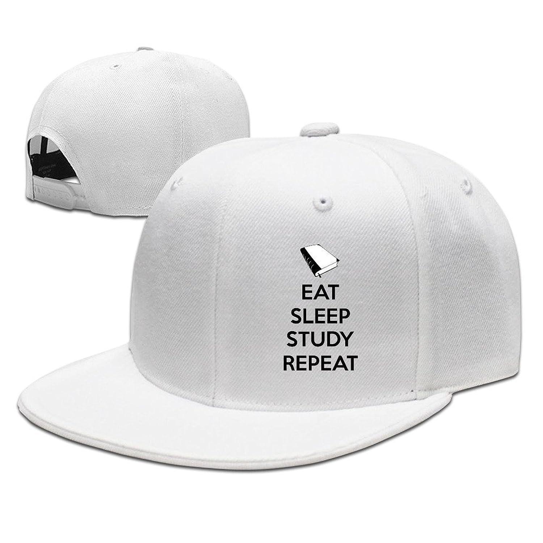 HNN Unisex Eat Sleep Study Repeat Flat Baseball Caps Hats