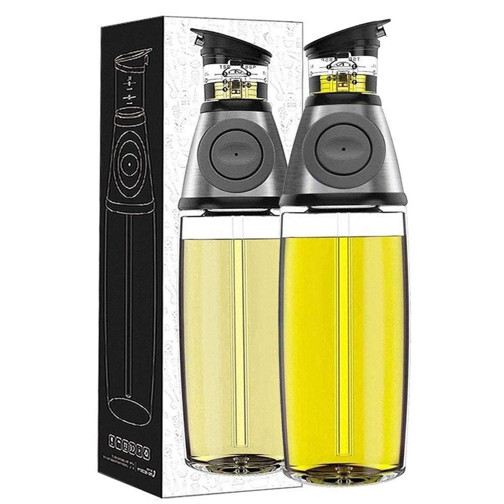 Alfie Olive Oil Dispenser Bottle, 17 Oz Oil Bottle Glass with No Drip Bottle Spout, Leakproof Glass Oil Bottle, Oil Pourer Dispensing Bottles for Kitchen, Olive Oil Glass Dispenser to Measure Cooking Vegetable Oil and Vinegar