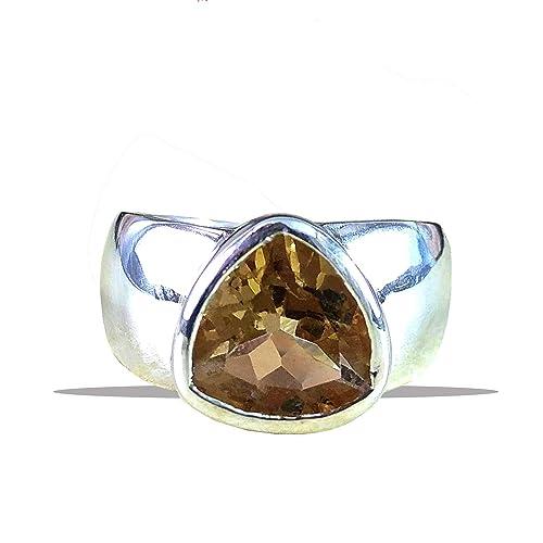 All SIZES Citrine Gemstone Ring Sterling Solid Silver November Birthstone