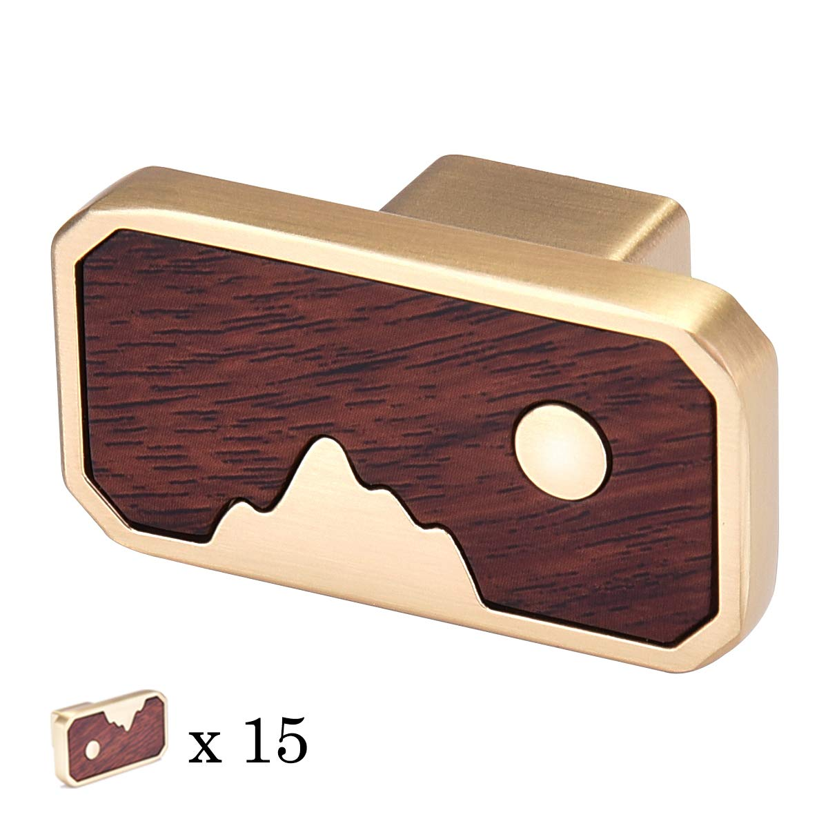 15 Packs Kitchen Cabinet Knobs Pull Handle Vintage,Frylr Euro Style Drawer/Dresser/Wardrobe/Furniture Knob Handles Gold & Walnut 1.8x1 Inch- Simple Mountain & Moon for Alloyed Decor Bar Puller Pullers