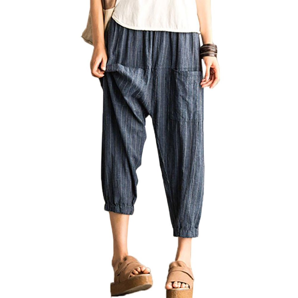 BUYKUD Women's Casual Cotton Linen Loose Lantern Pants (S/M) by BUYKUD