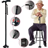Sminiker Professional LED Folding Walking Cane with Carrying Bag for Old Gentleman or Lady Aluminum Alloy Foldable Cane with Light