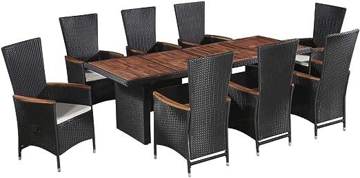 Festnight Set Muebles de Jardín 17 Piezas Ratán Sintético Acacia Maciza | 1 x Mesa, 8 x Sillas Reclinables, 8 x Cojines de Asiento | Marrón y Negro: Amazon.es: Hogar