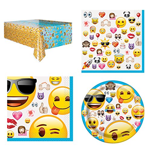 Unique Emoji Party Bundle | Luncheon & Beverage Napkins, Dessert Plates, Table Cover | Great for Emoticons/Smiley/Happy Birthday Themed Parties