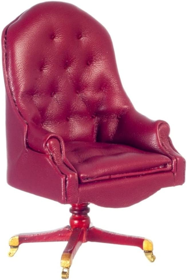 Melody Jane Dollhouse Resolute Desk Chair Mahogany Red Leather Miniature Study Furniture