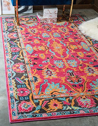 Unique Loom Medici Collection Abstract Botanical Vibrant Colors Pink Area Rug (5' 0 x 8' 0) (Bright Rugs Area)