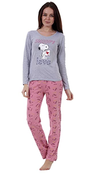 meilleure sélection enfant New York Snoopy Ladies Long Sleeve Pyjama Set Womens Mickey Minnie Mouse PJ's  Nightwear