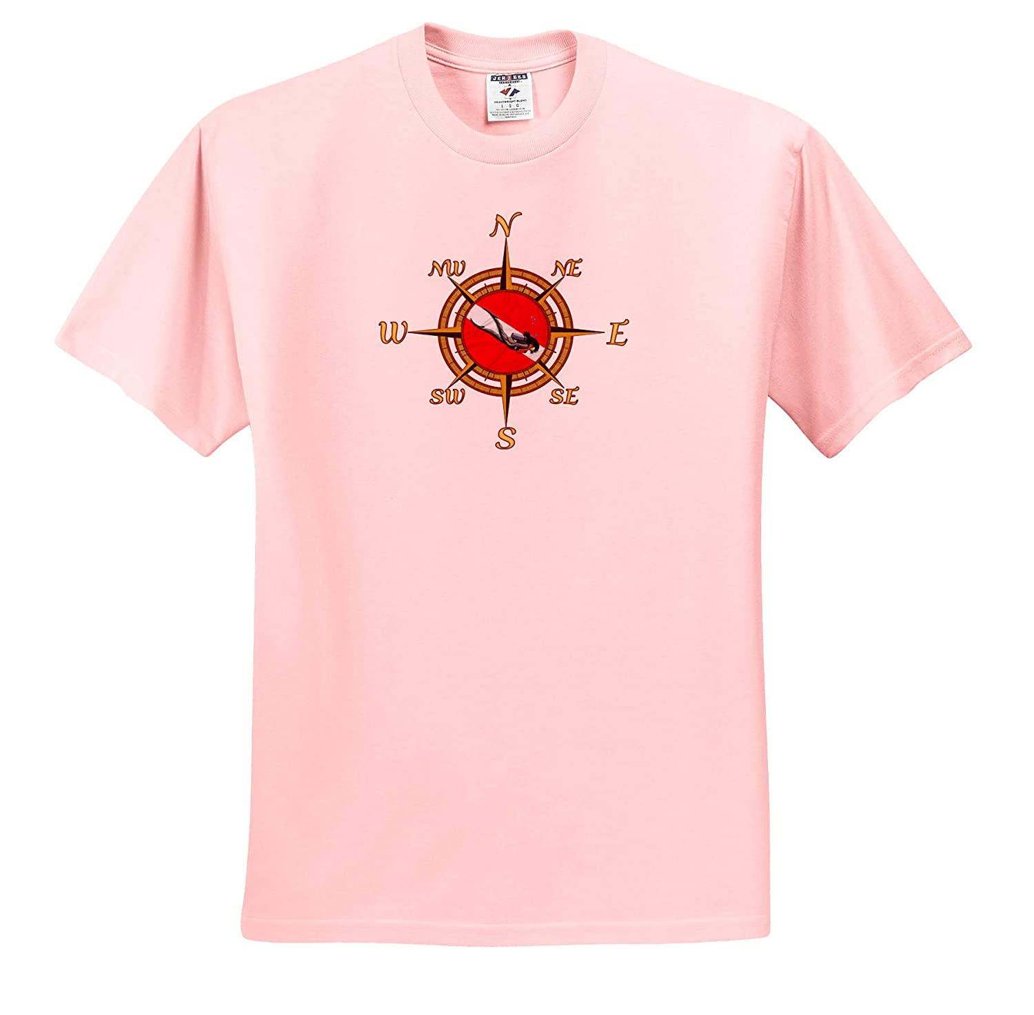 Scuba 3dRose Macdonald Creative Studios - T-Shirts A Compass Rose Inset with a Scuba Dive Flag and Scuba Diver