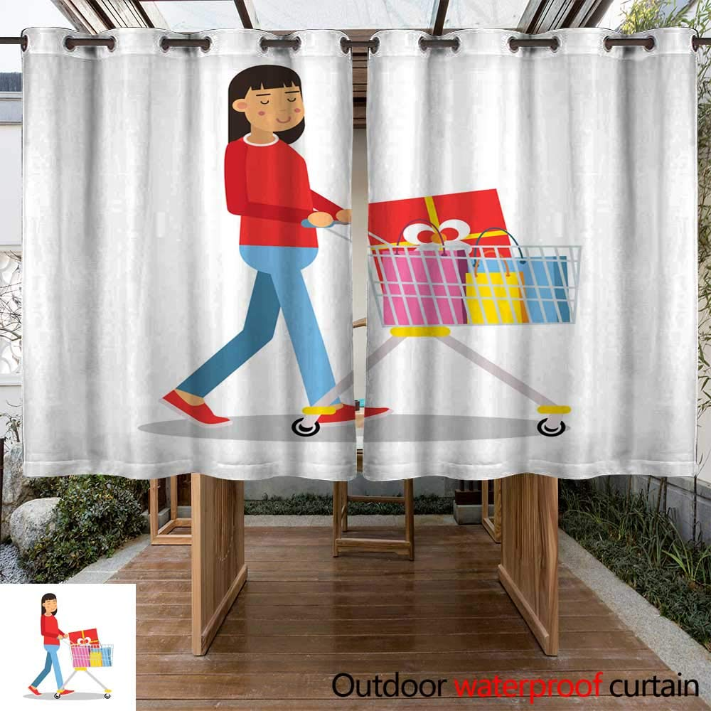RenteriaDecor Outdoor Curtain for Patio Young Brunette Woman in Casual Clothes Walking with a Shopping cart Cartoon Character Vector Illustratio W96 x L72
