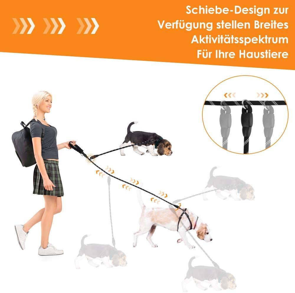 SlowTon Doppelter Hundeleinen-Splitter Zum Anschlie/ßen an das Halsbandgeschirr doppelter Haustier-Leinen-Koppler Hundeleine mit weich gepolstertem Griff