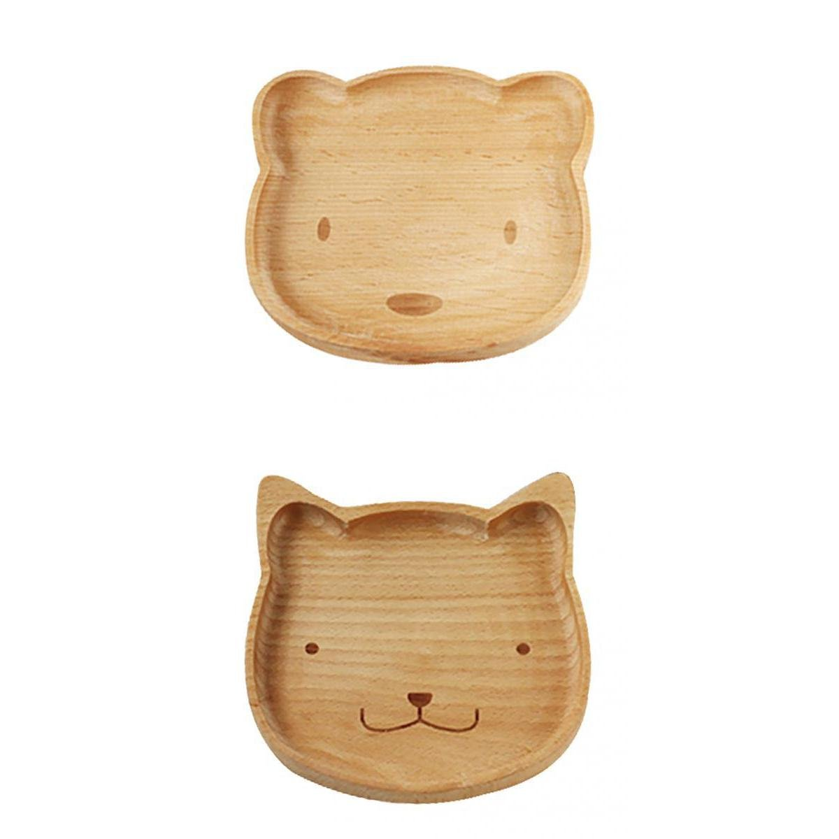 MonkeyJack Decorative Wooden Serving Tray Plate Set Bowl Sets of 2 Bear Cat Wood Plate