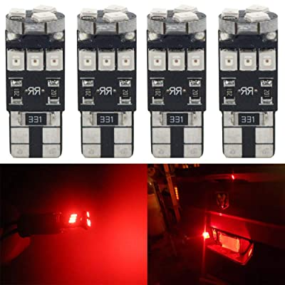 4-Pack T10 194 168 921 250Lums Red Extremely Bright Canbus Error Free LED Light 12V,9-SMD 2835 Chipsets Car Replacement Bulb For W5W 168 2825 Map Dome Courtesy License Plate Side Marker Light: Automotive