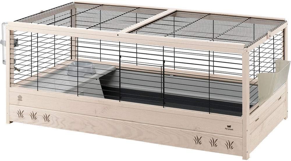 Ferplast Jaula Conejera de Madera para Conejos Arena 120, para pequeños Animales, Accesorios incluidos, 125 x 64,5 x h 51 cm Negro
