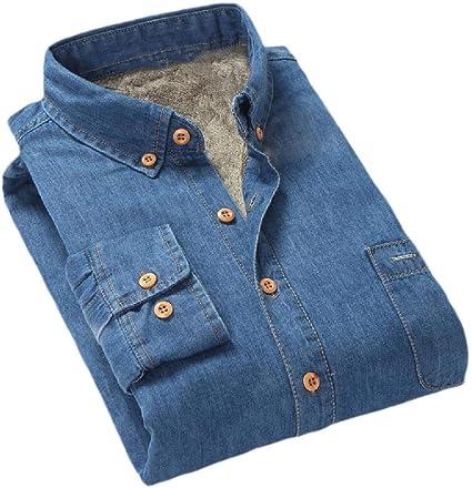 Tralounry Mens Plaid Casual Plus-Size Autumn Long Sleeve Western Shirt