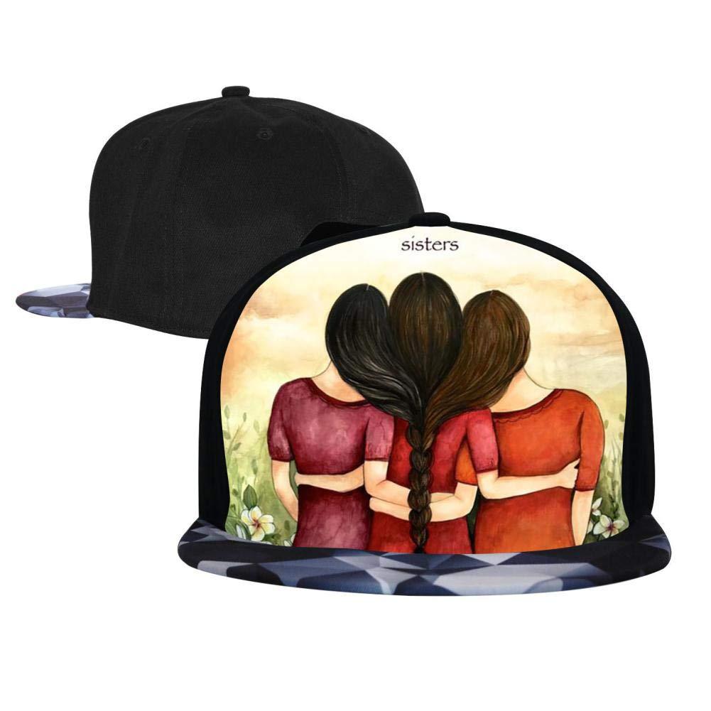 PASPTTO Sister Friendship Hip Hop Hat Mens Fashion Full Frame 3D Print Adjustable Truck Driver Baseball Cap