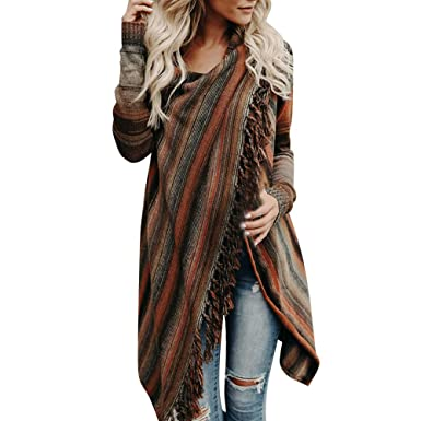 Transer Damen Frauen Winter Warm Quaste unregelmäßige Strickjacke  Strickpullover Poncho Schal Mantel Jacke Outwear 2e8b628488