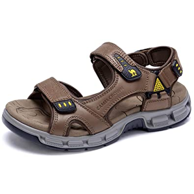 c5c7f794a02 CAMEL CROWN Men s Sandals Summer Leather Open Toe Sandals Casual Strap  Fisherman Sandals for Outdoor Hiking