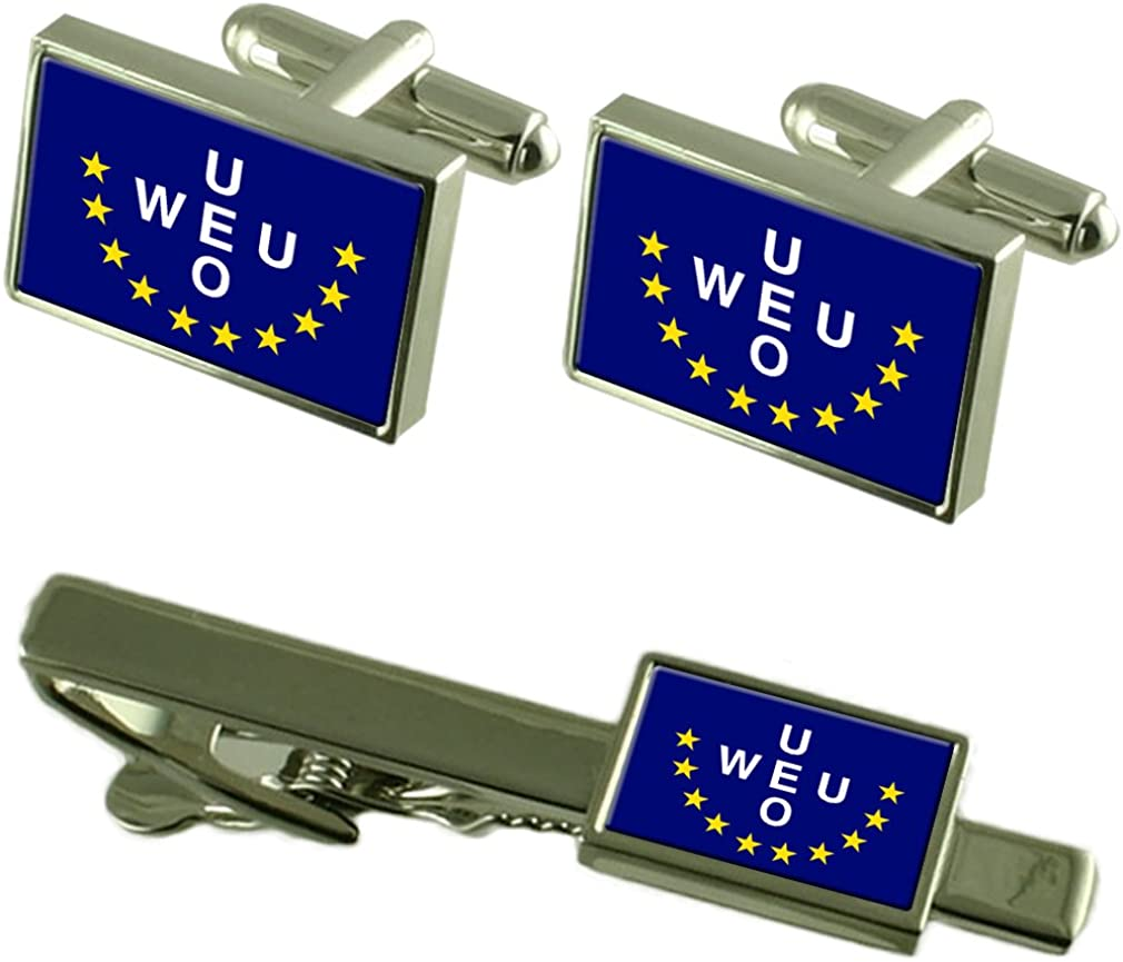 Select Gifts Western European Union Flag Cufflinks Tie Clip Matching Box Gift Set