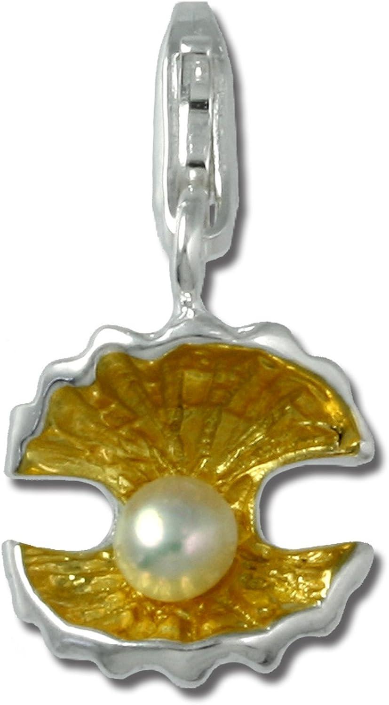 Plata Dream 925plata de ley Charm perlas conchas colgante para pulsera cadena pendientes fc230z