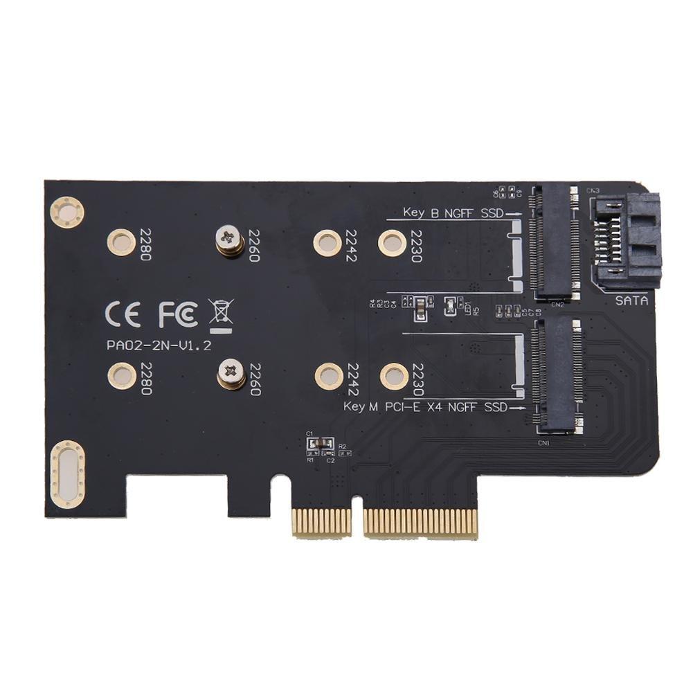Demiawaking 2 Slots Adapter Card M key M.2 NGFF SSD PCI-E X4 Adapter B key M.2 NGFF SSD SATA