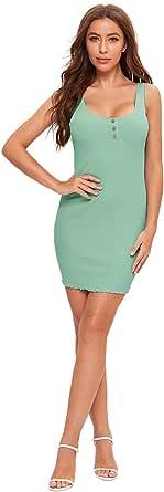 SheIn Women's Sleeveless Button Front Dress Lettuce Trim Ribbed Knit Mini Bodycon Dress