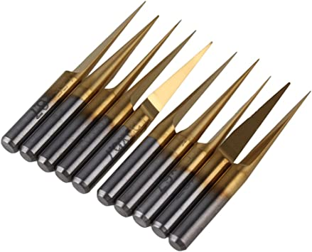 10pcs Titanium Coated Carbide CNC PCB Engraving Bit Router Tool 30 Degree 0.2mm