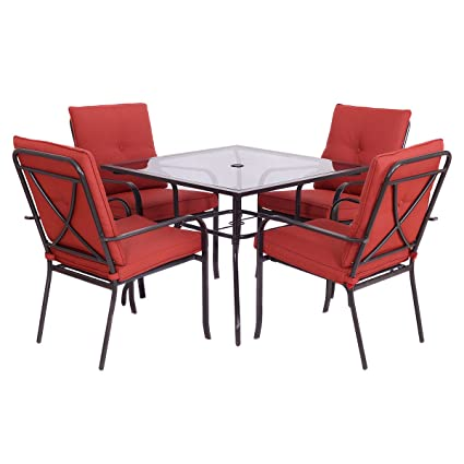 Giantex 5 Piece Patio Furniture Set Glass Table U0026 4 Cushioned Chairs Garden  Pool Yard (