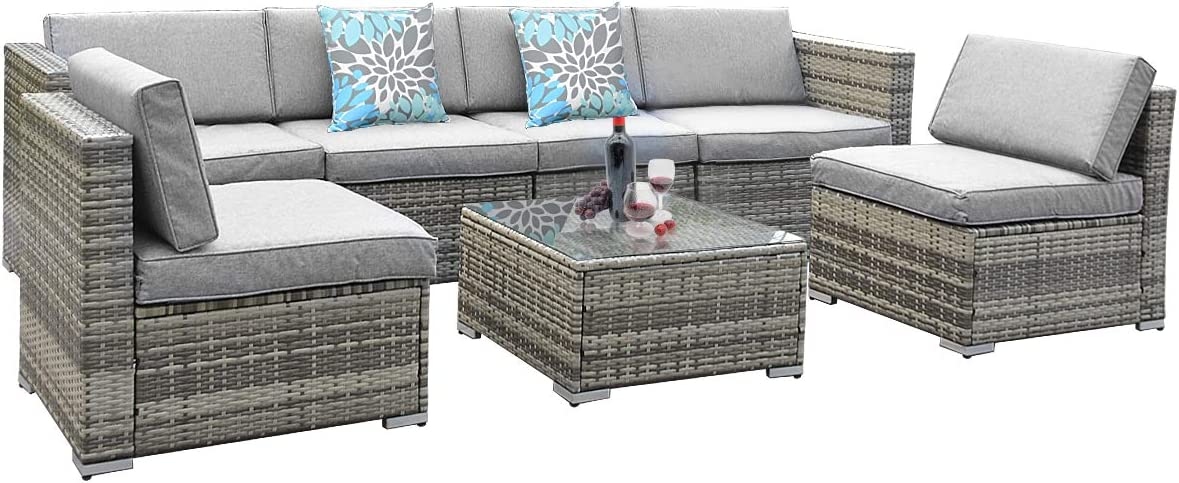 YITAHOME 7 Piece Outdoor Patio Furniture Sets, Garden Conversation Wicker Sofa Set, and Patio Sectional Furniture Sofa Set with Coffee Table and Cushion for Lawn, Backyard, and Poolside