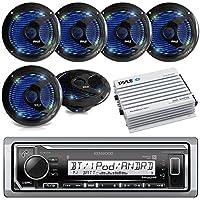 Kenwood Marine Digital Media Bluetooth Receiver, 6x Pyle 6.5 Waterproof Speakers w/ LED Lights (Black), Pyle Waterproof Bluetooth Amplifier