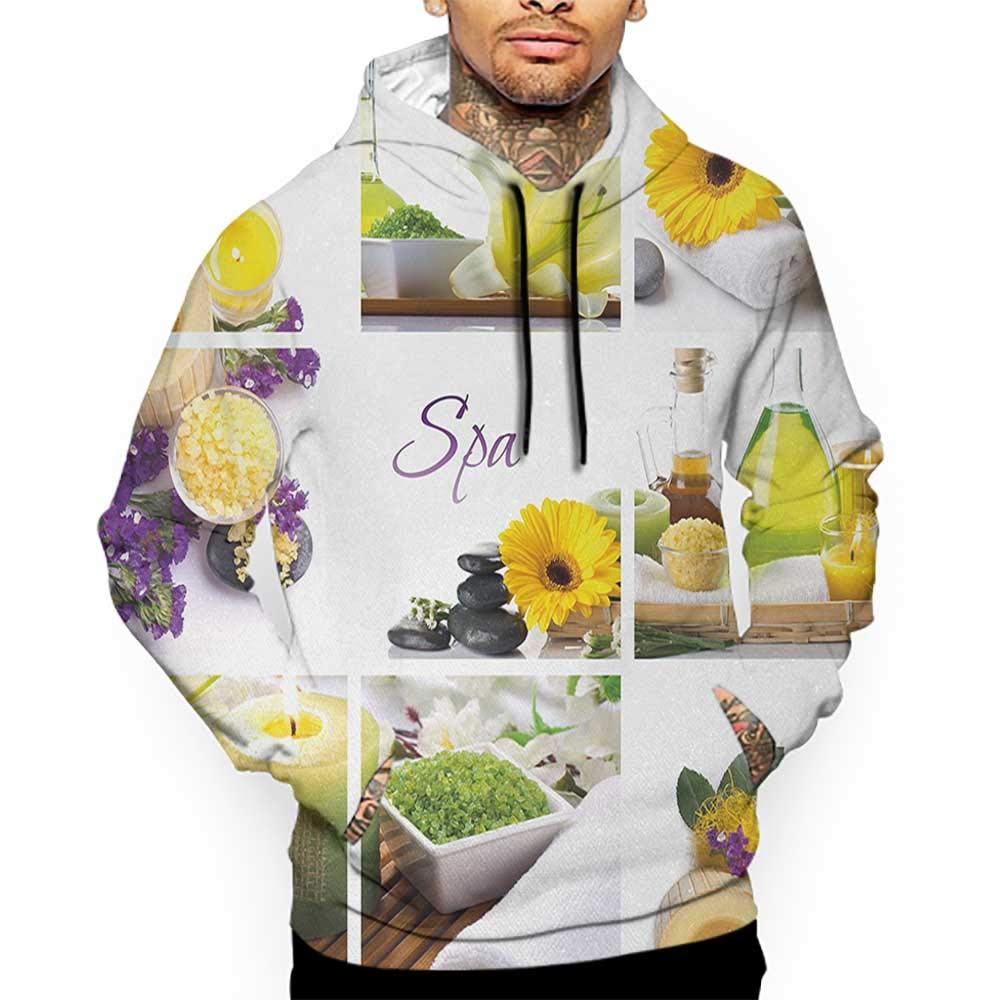 Unisex 3D Novelty Hoodies Spa,Yellow Happy Peaceful Spa Day with Flowers Candles and Herbal Oils Art,Yellow Purple and White Sweatshirts for Girls