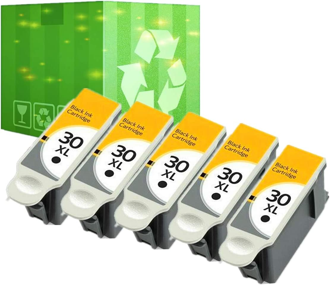 J2INK Compatible Ink Cartridge Replacement for Kodak 30XL 30 XL Black Ink Cartridges 5 Black ESP 3.2 C110 C310 C315 ESP Office 2150 2170 Hero 3.1 4.2 5.1 Printers