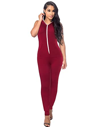 09030801ac5 Amazon.com  Sedrinuo Short Sleeve Bodycon Front Zipper Hooded Long Pants  Sexy Rompers Playsuits  Clothing
