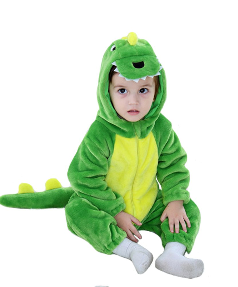 Tonwhar Toddler Infant Tiger Dinosaur Animal Fancy Dress Costume (100(Height:31''-35''/Ages 18-24 Months), Green)