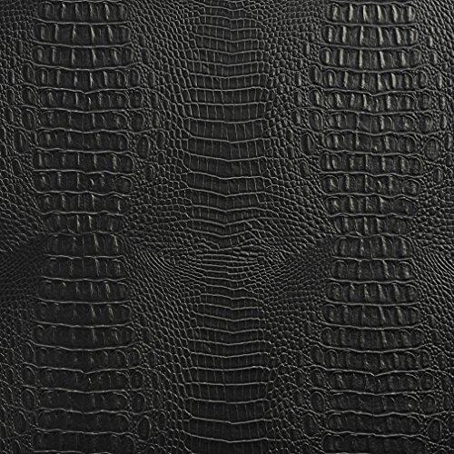 G283 Matte Black Embossed Alligator Upholstery Vinyl By The Yard