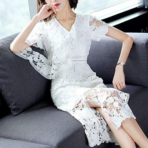 du Femmes Nouvelles temprament S en Manches Robes White 2018 Le d't la Sexy Dentelle col V Culture Longue Blanche MiGMV Courtes nItYqPt