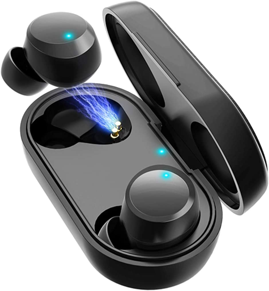 HOMVILLA Auriculares Inalámbricos para Deporte, Auriculares Bluetooth Mini Verdadero, Micrófono Auriculares 60H Playtime TWS, Wireless Bluetooth 5.0 Auriculares, Sonido Estéreo Auriculares