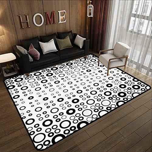 Indoor Outdoor Rugs,Geometric Circle Decor,Simple Vortex Disc Shaped Interior Ellipse Chord Lines Artwork,Black White 71