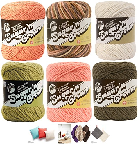 Variety Assortment Lily Sugar'n Cream Yarn 100 Percent Cotton Solids and Ombres (6-Pack) Medium Number 4 Worsted Bundle with 4 Patterns (Asst 50) ()