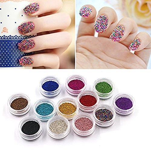 QIMYAR Nail Art Beads Decorations Caviar 3D Studs Nails Caviar Design Mini Charms 12 Bottle/set ...