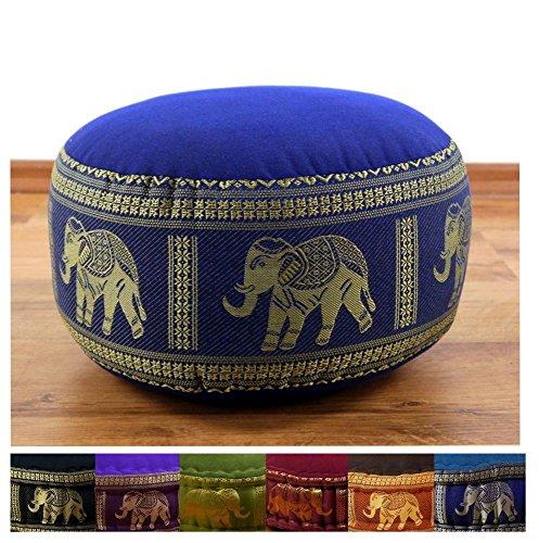 Zafukissen mit Seidenstickerei, Yogakissen, Meditationskissen, Sitzkissen, Bodenkissen (blau/Elefanten)