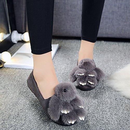 Y-Hui Winter Hausschuhe aus Baumwolle Schuhe Flache Slip Schuhe Frühling Erbsen 38 Standard Code Grau (Hase)