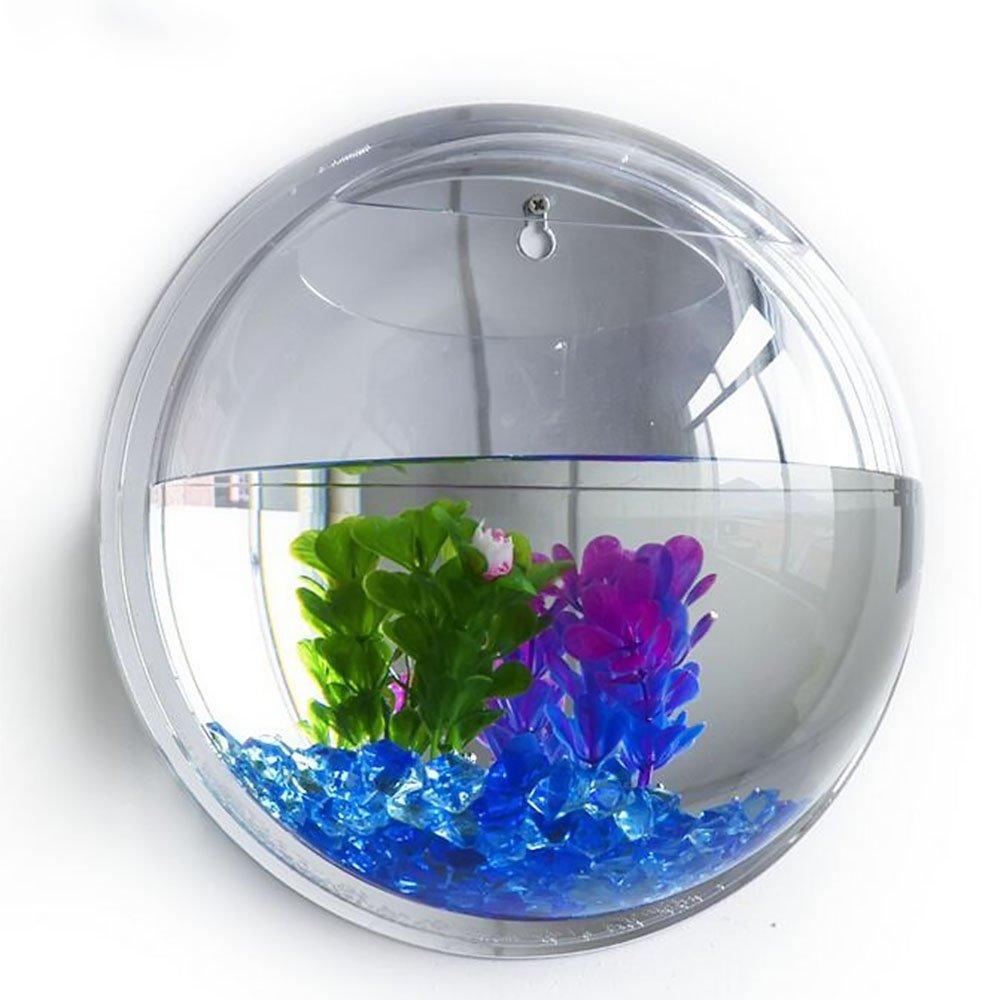 Kangkang@ 15cm Diameter Mini Acrylic Round Fish Bowls Wall Hanging Aquarium Tank Aquatic Pet Flower Plant Vase Wall Mount Fah Tank (Mirror Face) by Kangkang (Image #1)