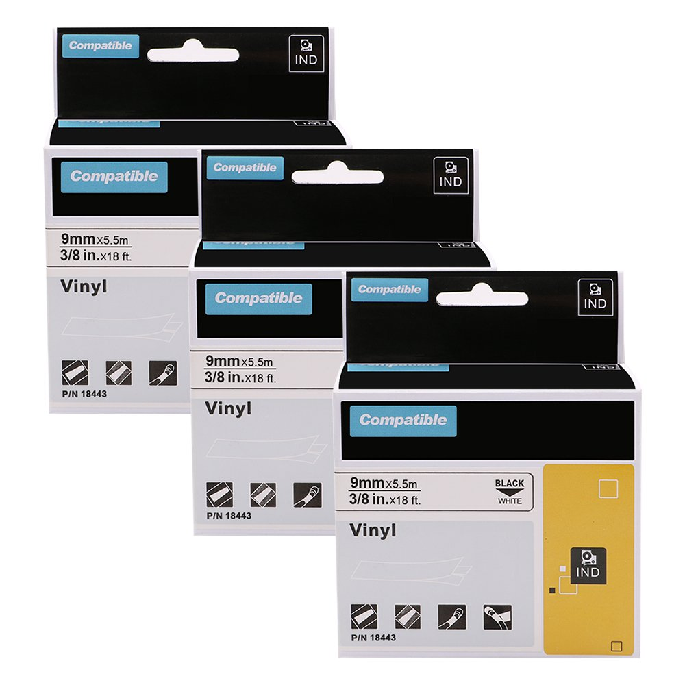 Industrial Rhino Labels 18443, 3/8 Vinyl Tape Compatible Dymo LabelWriter and Industrial Label Makers, Black on White, 3 Pack Oozmas