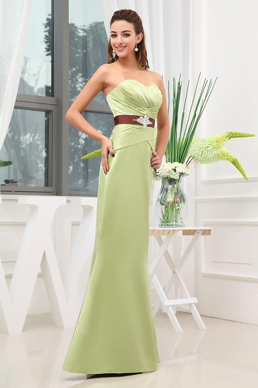 YanLian Sweetheart Long Bridesmaid Dress With Beaded Waist Detail Evening Gowns Sage Green US22w