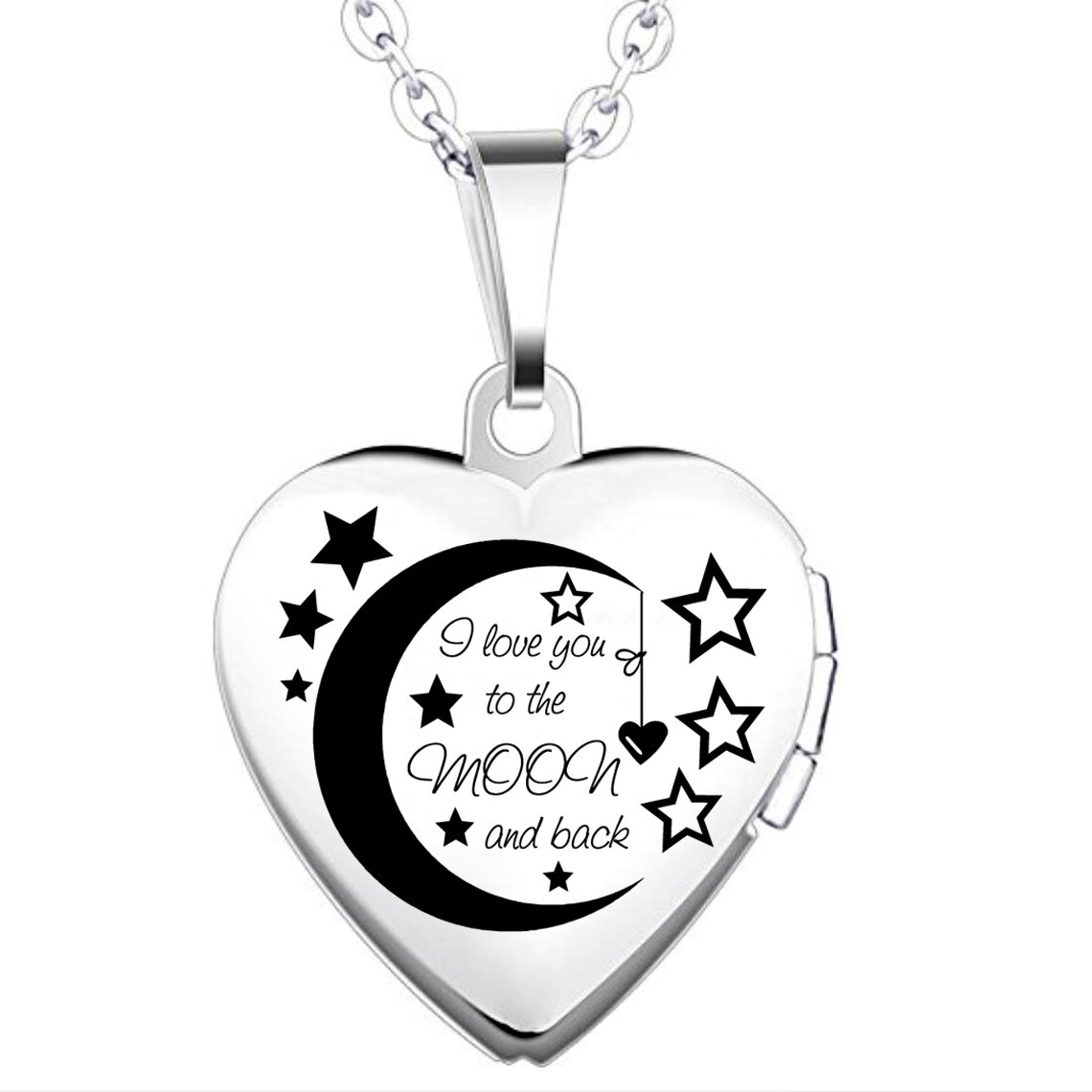 IXIQI Locket I Love You to the Moon and Back Titanium Heart Infinity Love Locket Necklace B07BNM177Y_US