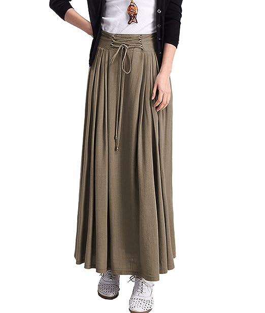 a2c729ff7 femirah algodón y lino Maxi falda de la mujer 6 colores - Beige ...
