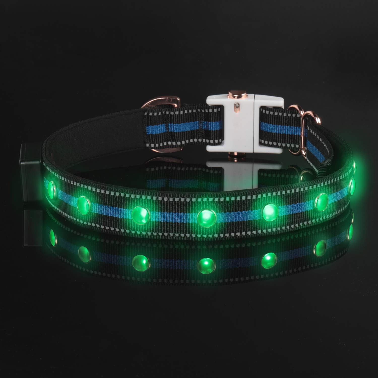 DOGNESS LED Dog Collar, USB Rechargeable Lights, with 3 Glowing Modes for Night Safety, Water Resistance, Adjustable for Medium Large Dogs, Blue, Matching Leash Sold Separately