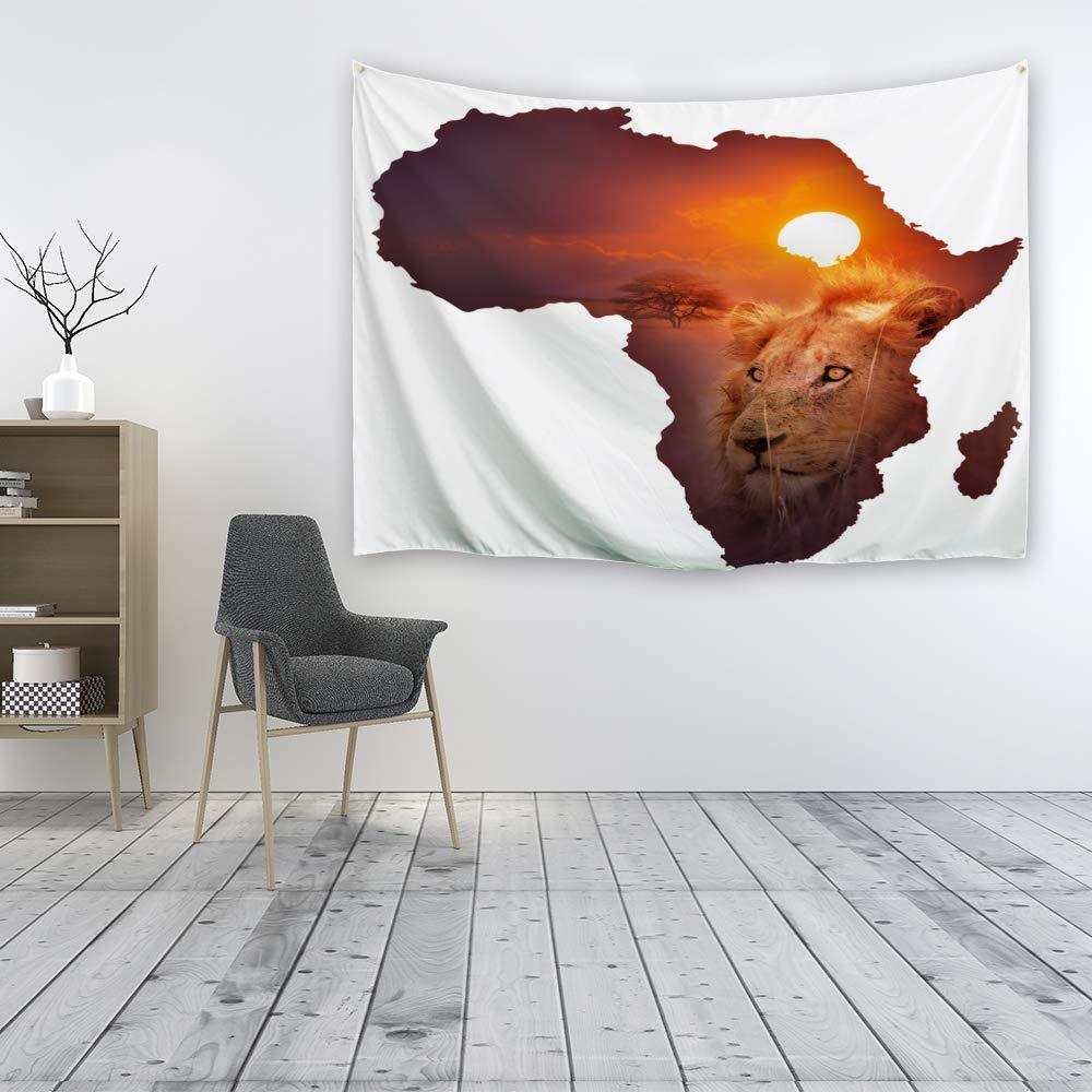 Ortigia Tapestry Wall Hanging Home Decor Lion Theme for Living Room Bedroom Dorm Room Polyester Fabric Needles Included 230cmx180cm 90 W x 71 L - Golden Hair Lion