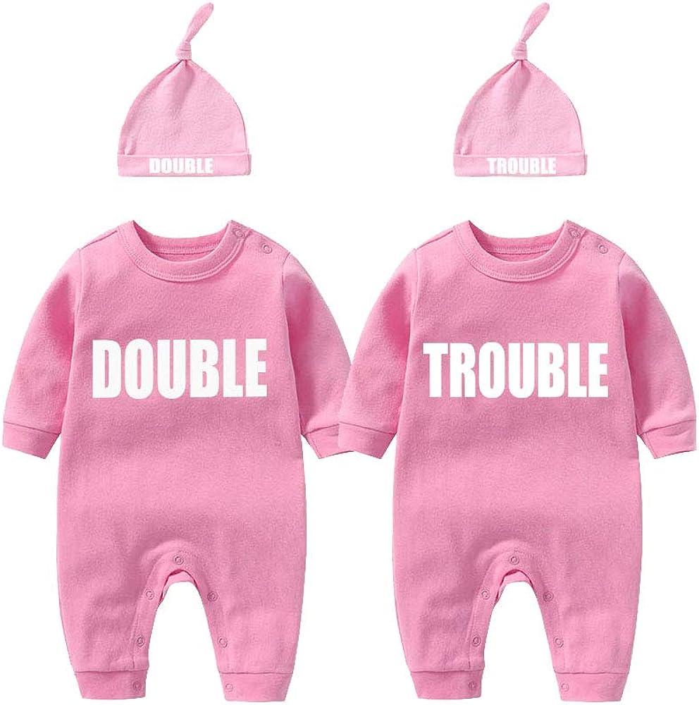 culbutomind Baby Zwillinge Baby Bodys Doppel /Ärger s/ü/ßes Outfit mit Hut Baby Pyjamas Zwillinge Geschenk