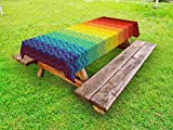 Ambesonne Fiesta Outdoor Tablecloth, Mexican Inspired Colorful Chevron Zigzags Three Dimensional Pattern Tribal Culture, Decorative Washable Picnic Table Cloth, 58 X 104 inches, Multicolor